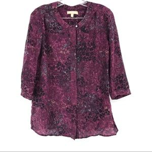 Banana Republic Silk Top Purple 3/4 Sleeves